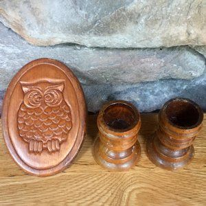 Boho Small Wood Candle Holders Owl Magnet Lot 2